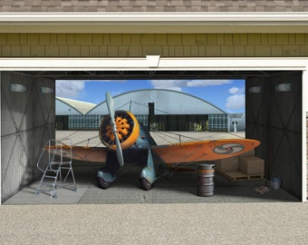 Aircraft P 26A Peashooter Outdoor Decoration Military Army Independence Day Garage  Door Outside House Banner