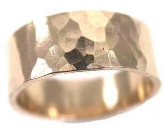 Thick Hammered Goldfill Ring