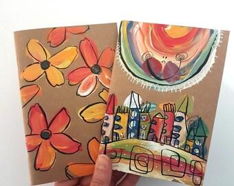 Kraft Notebook, Set of 2, Sun Notebook, Flowers Notebook, 4x6 notepad, Whimsical Notebooks, Painted Notebooks, Original Gifts