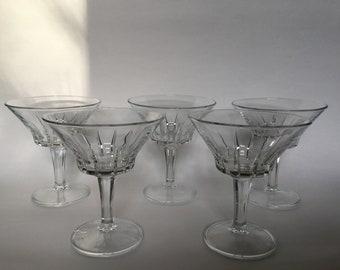 Set of 5 Vintage Italian Starburst Cut Glass Martini Glasses