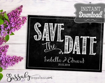 Save the Date Wedding Card - INSTANT DOWNLOAD - Partially Editable & Printable, Chalkboard, Wedding Stationery, Flat Cards