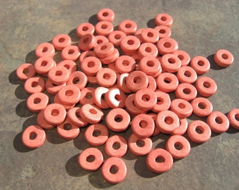 Peach Blossom Greek Ceramic 8mm Round Washer Beads