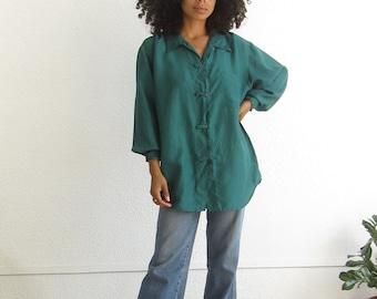 Vintage silk shirt 90s silk forest green long sleeve button up