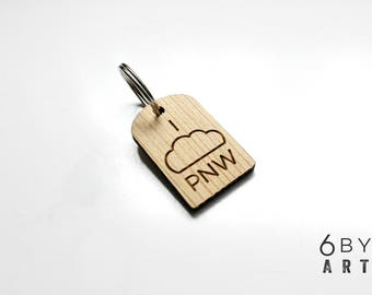 "I ""Cloud"" PNW Pacific Northwest Keychain 