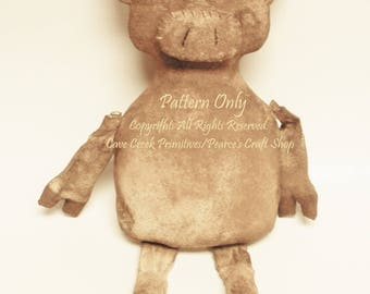 Primitive Pig Doll E-Pattern, Animal Patterns, Craft Patterns