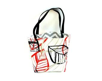 Shopping tote bag, large market bag, reversible tote, chevron stripe, girls weekend bag, beach bag, everyday tote