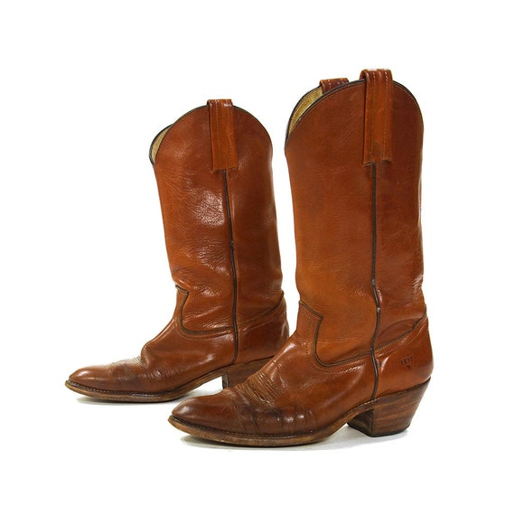 Frye Cowboy Cowgirl Brown Leather Vintage Boots Women's Size 6.5 B Distressed