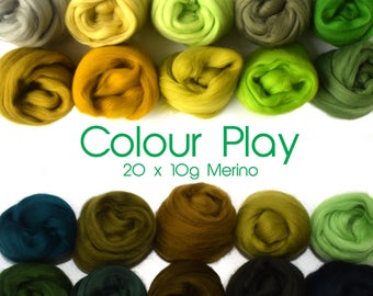 Mixed Merino pack - 20 colours - 20 x 10g ( 200g / 7 oz) - Greens - COLOUR PLAY