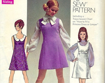 Simplicity 8614 Sewing Pattern , Empire Waisted Jumper or Dress with Full Sleeve Blouse , How to Sew Pattern , Bust 32 1/2""