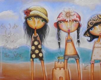 Beach Girls print, Beach holiday art, printable beach, sandcastle art, whimsical beach girls