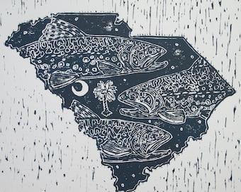 South Carolina state fly fishing artwork of Jonathan Marquardt