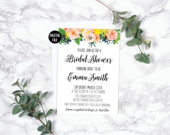 Bridal Shower Invitation | Yellow Pink Peach Roses | Watercolor Floral | Spring Summer | Printable/Digital File