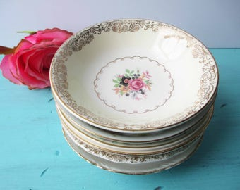Vintage Mismatched Dessert Bowls Floral and Gorgeous Set of Six