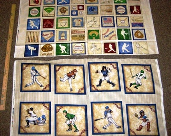 Grand Slam Baseball Cotton Fabric Panels by Quilting Treasures! 2 Options! [Sold by the Panel]