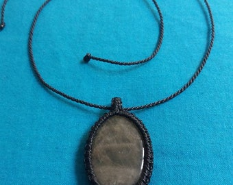 Macrame necklace and smoky quartz gemstone