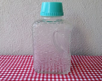 Glass refrigerator bottle with lid vintage 50s 60s