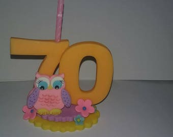 OWL doble number candle