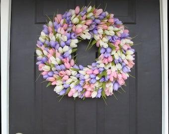 SPRING WREATH SALE Spring Wreath- Wedding Wreath- Original Tulip Wreath- Spring Decor- Spring Decoration