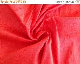 15% OFF Fat quarter of100 Percent pure  dupioni silk in unique pink