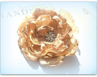 Caramel Beige Tan Diamante Flower Embellished Flower Brooch Flower Fascinator Flower Hair Clip ETSY UK UK Shop