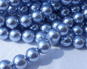 15 12 mm Lavender Pearl glass beads