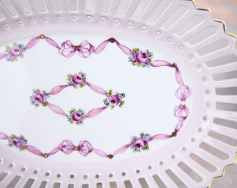 VSC Oval Openwork Candy Dish with Pink Ribbon - Hand Painted