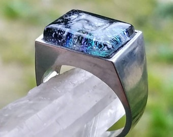 NEW Men's Cremation Ring Ashes InFused Glass Rectangle Flat Cut Pet Memorial  Sterling Size 10