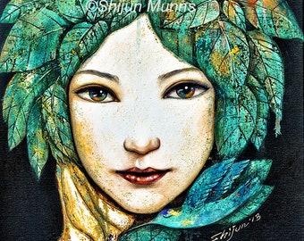 girl art print, forest girl, girl with leaves, fairy art,  giclee print by Shijun-Art gift-Fantasy wall art-Oil painting print