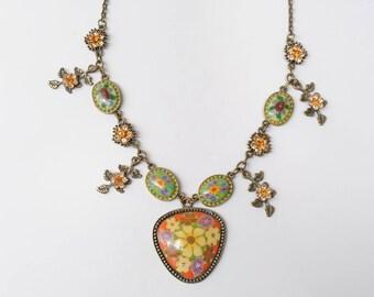 Necklace vintage - style hippie boho - vintage jewelry - women - necklace-necklace Flower necklace