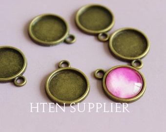 40pcs bronze round pendant setting, glass brass pendant blank, DIY pendant base