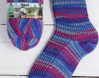 Schafpate sockyarn Opal 4ply 425 meter 100 g (465 yards) free sock knitting pattern pink purple grey blue quality sockwool colours Nr. 9416