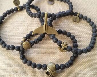 Pulsera náutica -- Nautical bracelet -- Pulsera hombre -- Pulsera lava