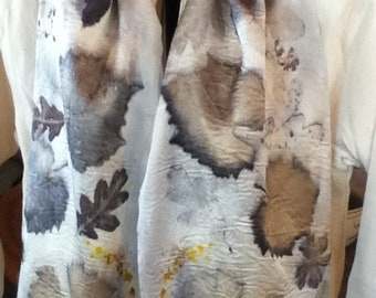 eco printed charmeuse silk scarf 11 x 60