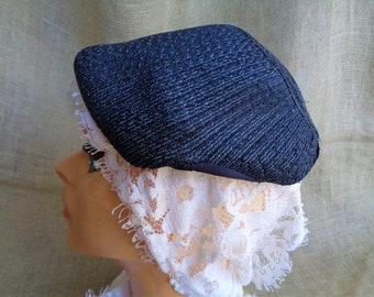 Vintage 1940s Hat Navy Blue Faux Straw Ready to Embellish