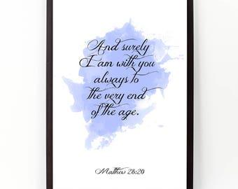 Matthew 28:20 quote, Matthew, Bible verse, Bible wall art, Scripture, Scripture verse, Bible print, Nursery bible verse,