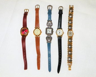 DESTASH Five Fashion Watches for Recycling, Steampunk and Parts