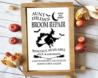 Broom repair halloween witch sign, fall sign, framed sign, rustic sign, farmhouse halloween sign