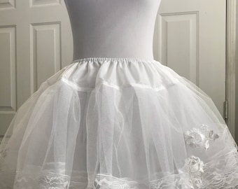 Handcrafted 16 Inches Layers White Princess Embroidery Lolita Petticoat