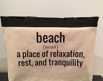 BEACH Bag / Bikini Bag / Vacation Tote / Canvas Beach Bag / Gift For Mom