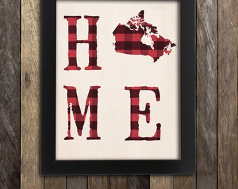Canadian Art, Canada Shops, Made in Canada, Ships from Canada, Canada Print, Canada Wall Art, Buffalo Plaid Decor, Canada Map, Canada Day