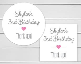 Birthday Stickers, Birthday Party Favor Stickers, Envelope Seals, Birthday Party Thank You Stickers (#038)