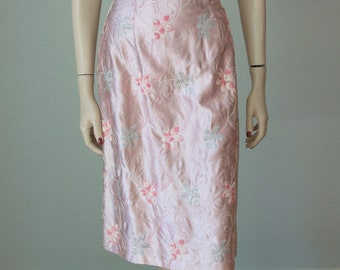 1950s Embroidered Satin Hourglass Sheath Dress / Silver Lame' Details / Bombshell Dressy Dress / Gay Gibson / 50s Dress / Small