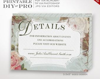 Wedding Website Card Template - Vintage Rose Wedding Information Card - Printable DIY French Country Wedding Editable Custom Additional Info