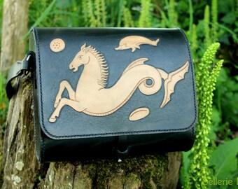 Leather handbag black handmade Etruscan pattern