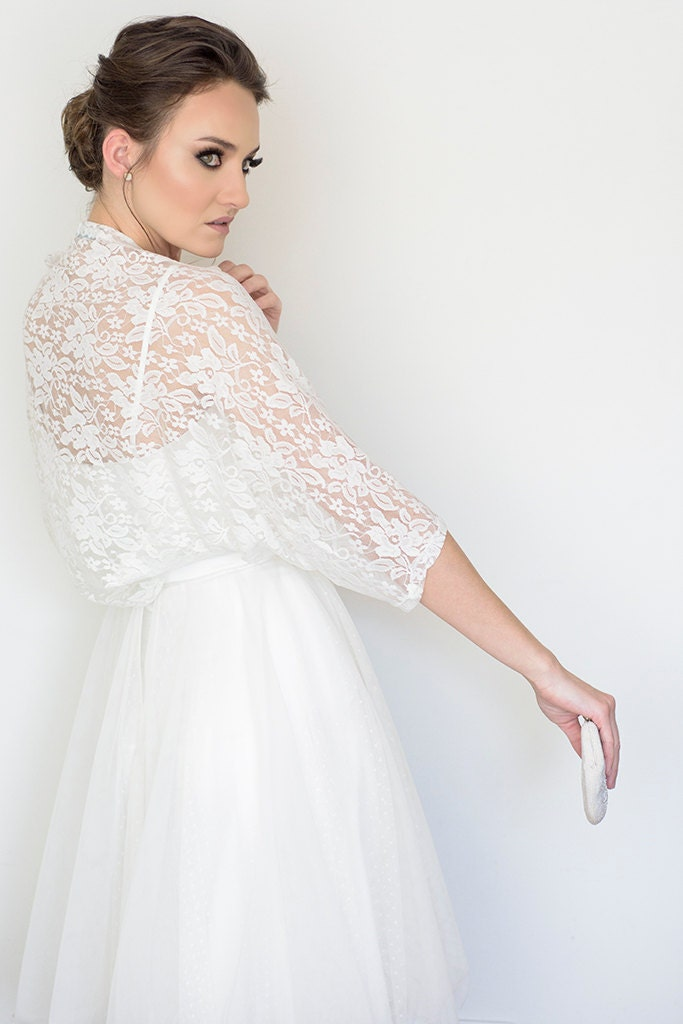Plus size bridal cover up wedding lace bolero plus size