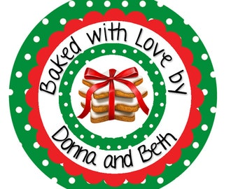 24 Cookie Labels, Christmas Cookie Stickers, Baking Labels, Cookie Exchange, From the Kitchen of Labels, Christmas Baking, SET OF 24 (524)