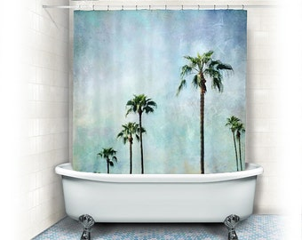 Palm trees Shower Curtain,aqua home decor,fabric,turquoise,blue,landscape,nature