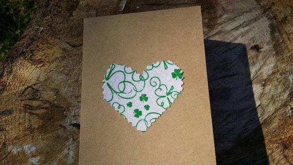 Customizable Handmade Heart Card/Fabric Scrap Heart Card/Celtic Card/ Shamrock Card/Handmade Greeting Card/St. Patrick's Day Card