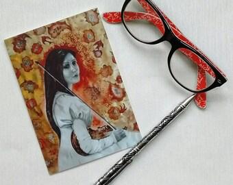 Zitkála-Šá, Native American Writer and Political Activist Greetings Card, Art print card, Pre-Raphaelite, Feminist icon, Inspirational Women