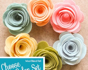 Wool Blend Felt Flowers   XXLarge 3D Rolled Roses   Pick a Color Set   DIY   Unassembled Rosettes